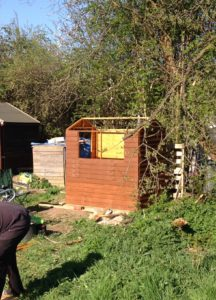 A cheap basic shed being built at the allotment